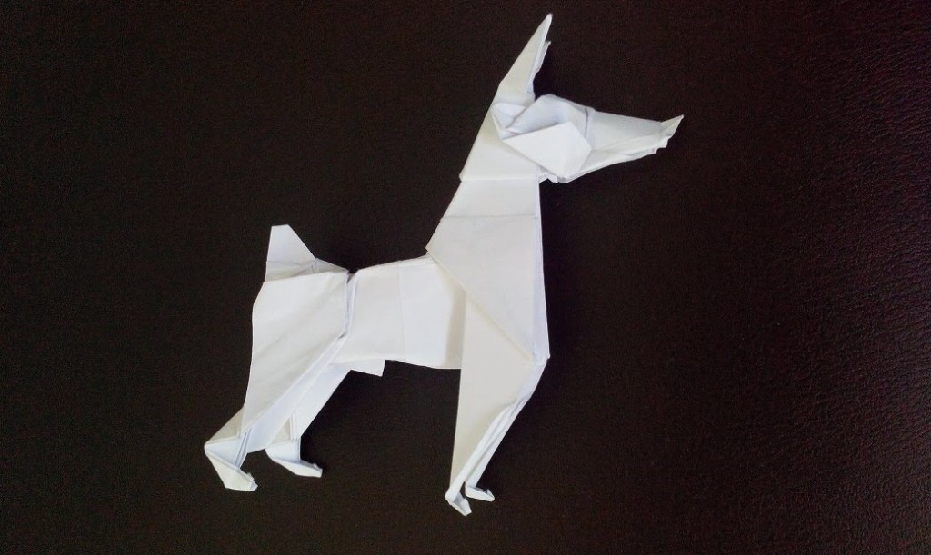 Оригами собака Доберман Пинчер