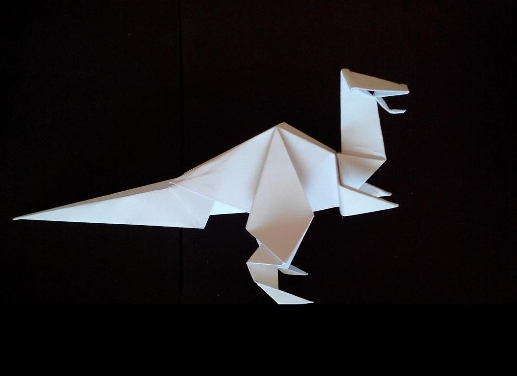 Динозавр простой оригами
