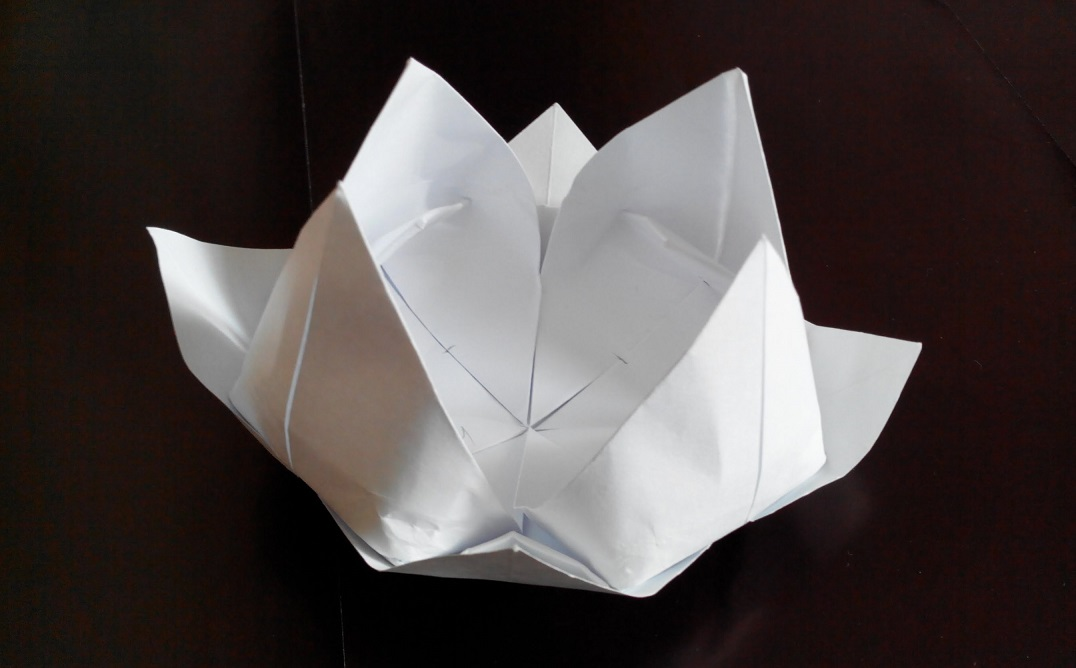 Лилия (кувшинка) оригами, 8 лепестков