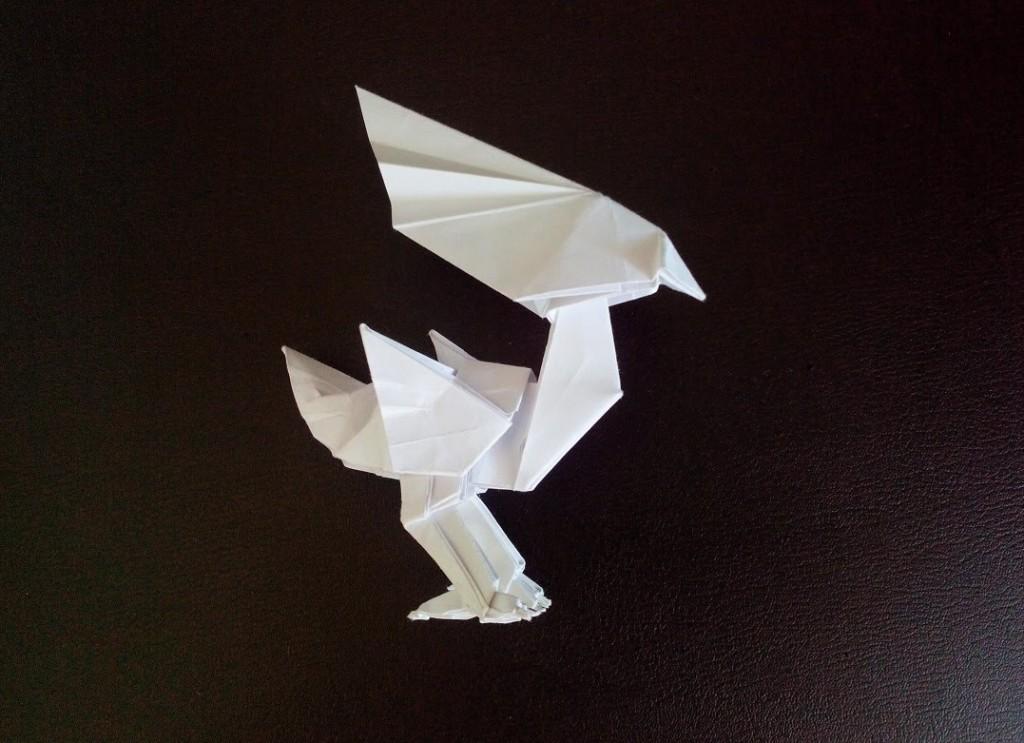 Необычная птица оригами (Satoshi Kamiya)