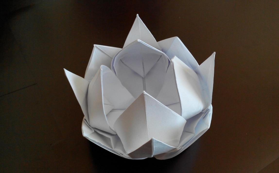 Цветок лотоса оригами, 12 лепестков, (Вариант 2)