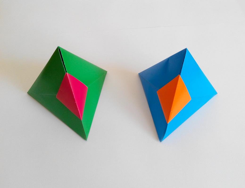 Треугольная коробочка оригами