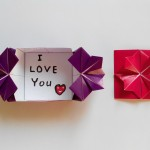 Конверт с цветком на застежке оригами