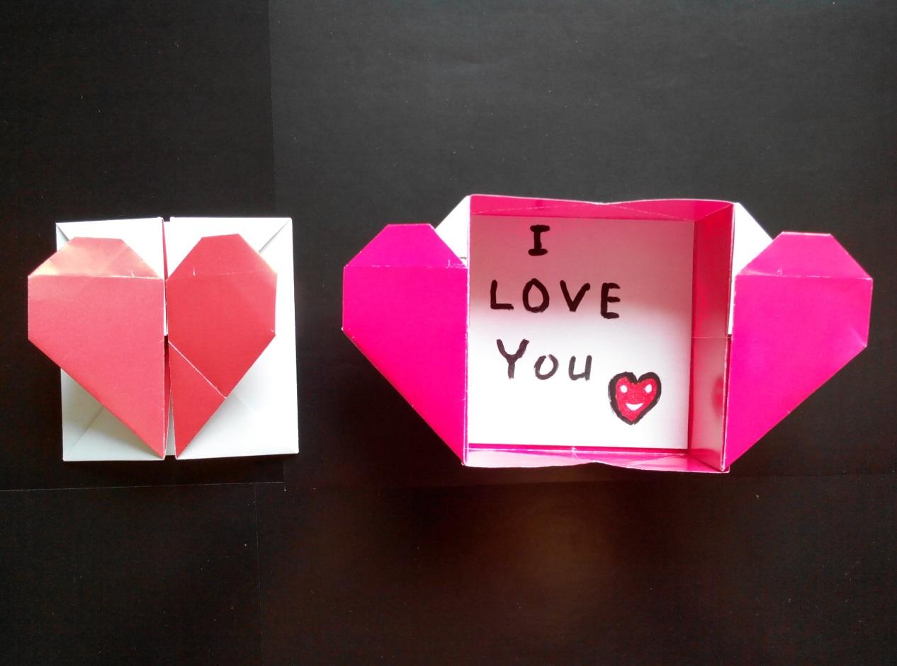 Коробочка с сердечком оригами