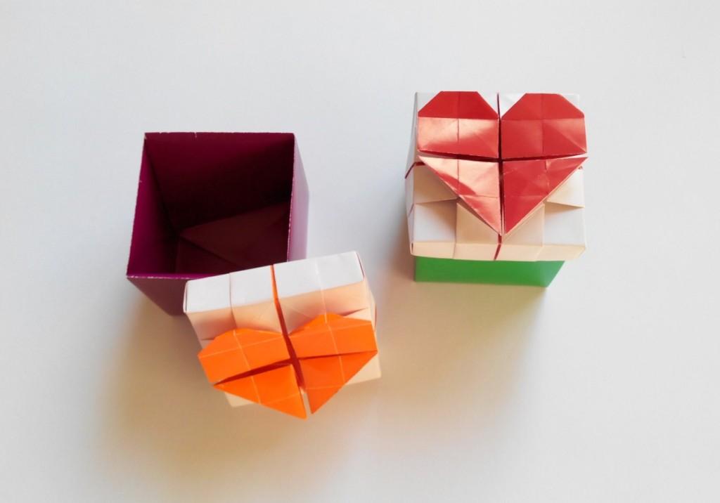 Сердце на коробочке оригами