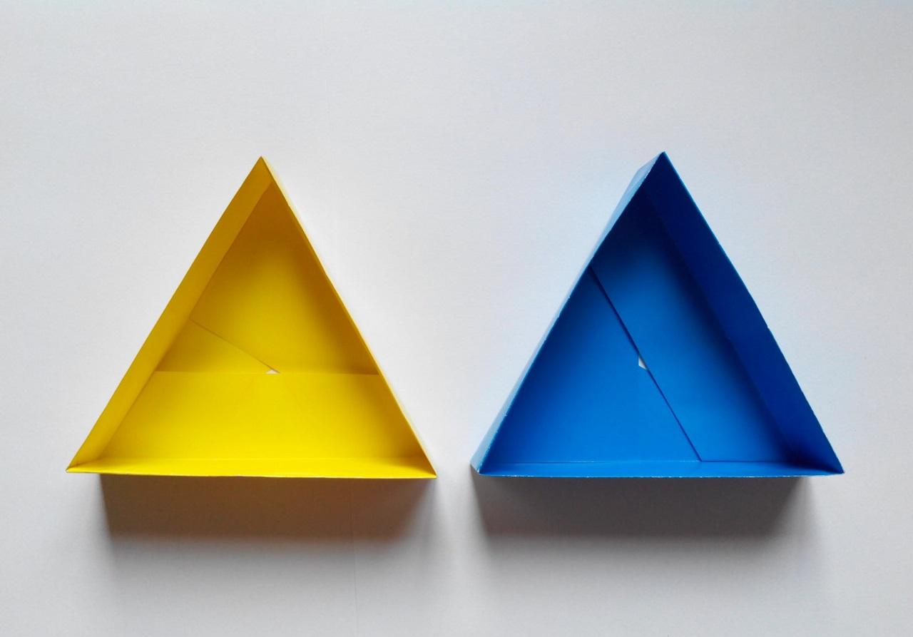 Треугольная коробочка оригами (Tomoko Fuse)