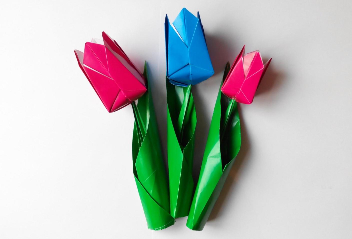 Тюльпаны из бумаги не оригами