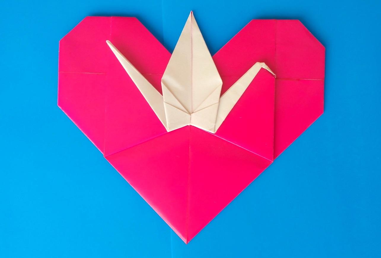Сердце с журавликом