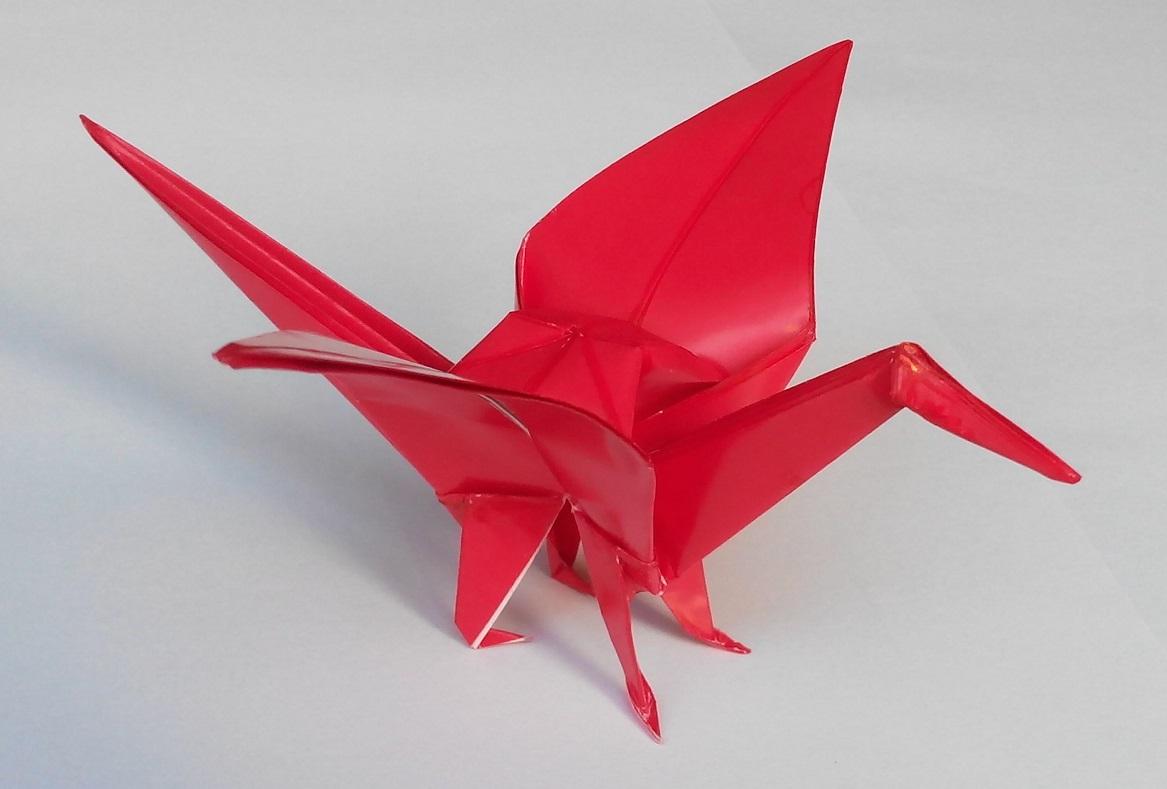 Как сделать оригами журавля с ножками