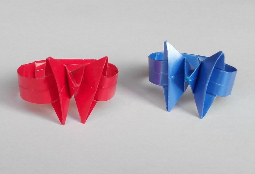 Кольцо с бабочкой оригами