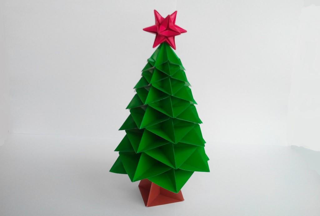 Красивая Новогодняя елочка оригами