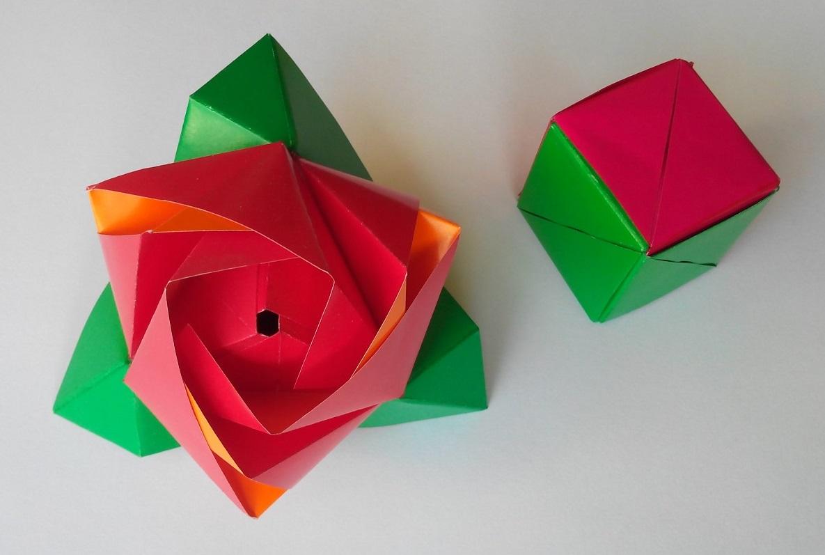 Роза трансформер из куба оригами
