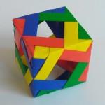 Куб из модулей с отверстиями по бокам оригами