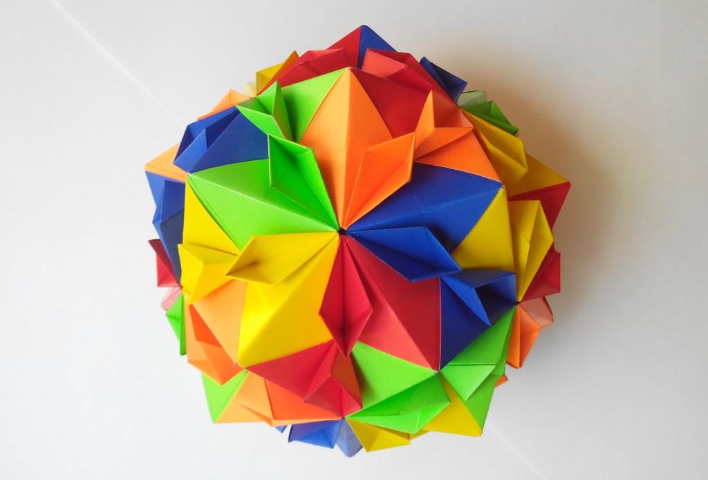 Кусудама цветущая вишня мяч оригами (Tomoko Fuse)3