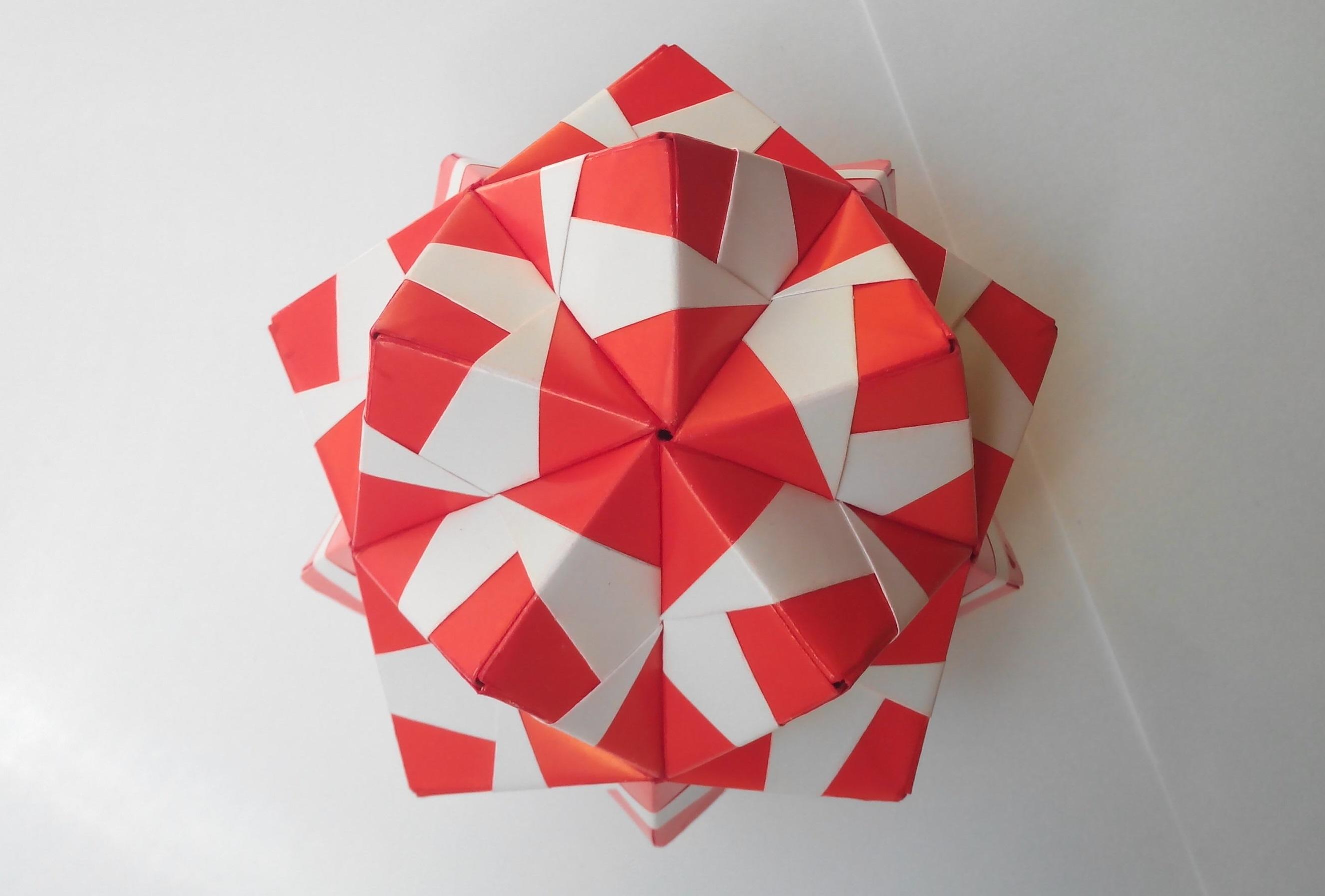Кусудама цветная оригами (Mitsunobu Sonobe)