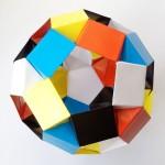 Кусудама из 5 цветов и 30 модулей оригами (Tomoko Fuse)